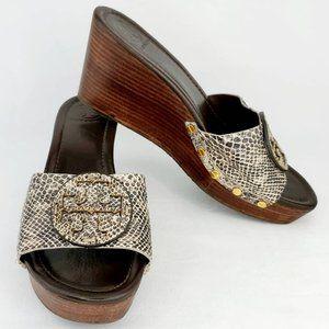 TORY BURCH Patty Wedge Sandal Snake Skin Size 10M